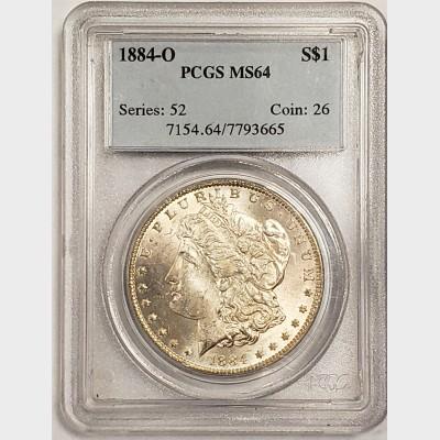 1884-O Morgan Silver Dollar PCGS MS64