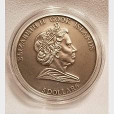 2010 Cook Islands HAH 280 Meteorite Silver $5 Coin
