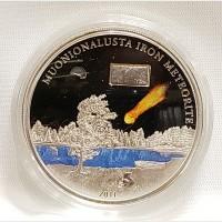 2011 Cook Islands Meteorite Muonionalusta Silver $5 Coin