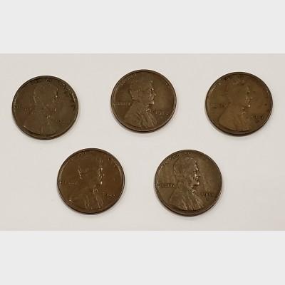 1911-1915 San Francisco Mint Wheat Cent Pennies VF