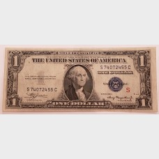 "$1 Bill Silver Certificate Series 1935A  FR1610 ""S"" Surcharge XF"