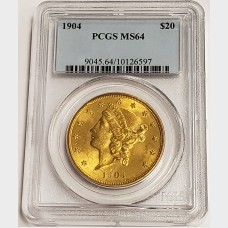 1904 $20 Gold Liberty Head Coin PCGS MS64