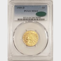 1909 D $5 Gold Indian Coin PCGS MS64 CAC