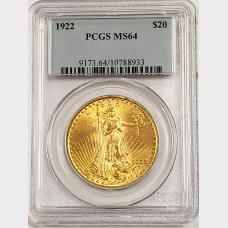 1922 $20 Gold Saint Gaudens Coin PCGS MS64
