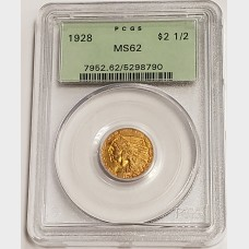 1928 $2.50 Gold Indian Head PCGS MS62 OGH