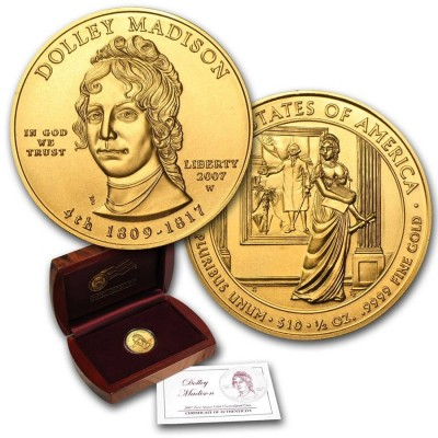 2007 First Spouse 1/2 oz Gold Coin Dolley Madison
