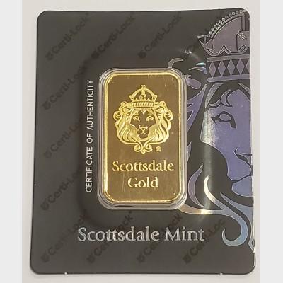 1 oz Scottsdale Gold Bar (w/ Assay)