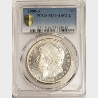 1880-S Morgan Silver Dollar PCGS MS64DMPL