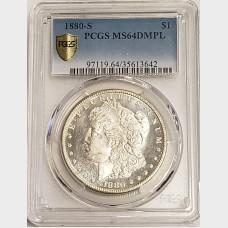 1880-S Morgan Silver Dollar PCGS MS64DMPL