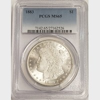 1883 Morgan Silver Dollar PCGS MS65