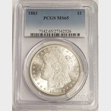 1883 Morgan Silver Dollar PCGS MS65