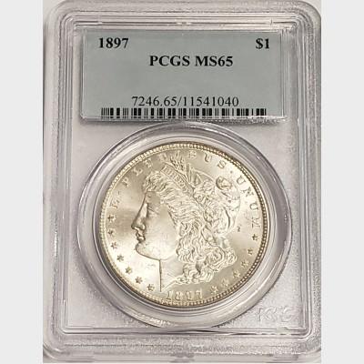 1897 Morgan Silver Dollar PCGS MS65