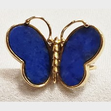 14 K Yellow Gold Lapis Butterfly Ring