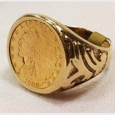 14 K Yellow Gold Men's Ring w $2.50 Indian Coin