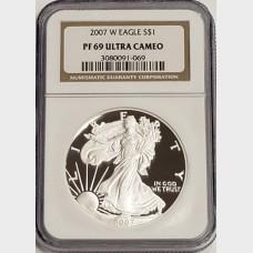 2007 W Silver American Eagle NGC PF69 Ultra Cameo
