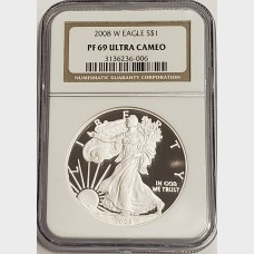 2008 W Silver American Eagle Proof NGC PF69 UCAM