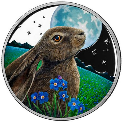 Lisa Parker Colorized Moon Gazer 5 oz Silver Proof LE Round w/COA