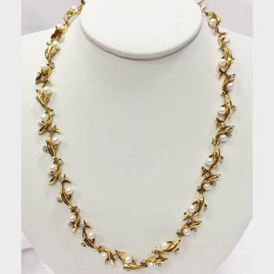 18 K Yellow Gold Dolphin Diamond Accent Necklace by Wyland