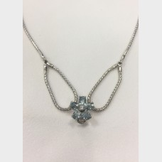 Ladies 14 KT Aquamarine with Diamond Center Flower Necklace