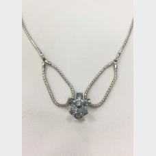 Ladies 14 KT Aquamarine with Diamond Center Flower Necklace