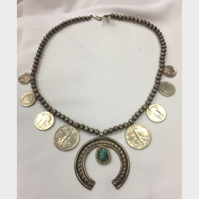 Vintage Native American Squash Blossom Silver Necklace