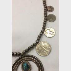 Vintage Native American Squash Blossom Silver Necklace