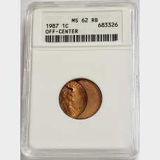 1987 Lincoln Cent Off-Center Penny ANACS MS62 RB