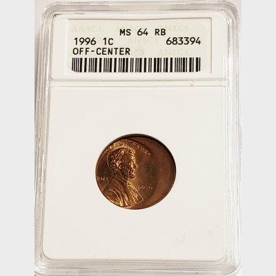 1996 Lincoln Cent Off-Center Penny ANACS MS64 RB