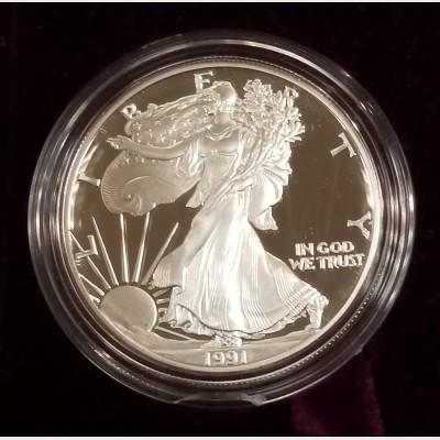 1991-S Silver American Eagle 1 Ounce Proof Bullion Coin