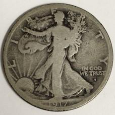 1917-S Walking Liberty Half Dollar Obverse Mint Mark