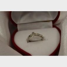 14K White Gold Studded Cross 'Spinner' Ring