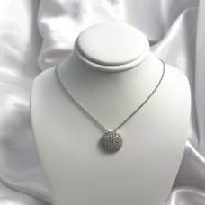 Women's Adjustable Sterling Silver CZ Concave Circle Necklace