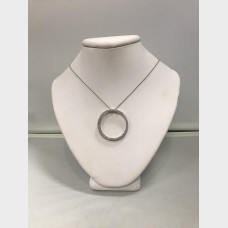 14KT Circular White Gold Pendant and Necklace