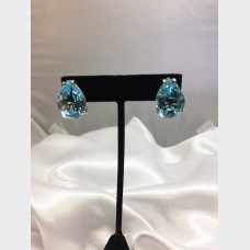 14K Yellow Gold Pear Shaped Blue Topaz Earrings