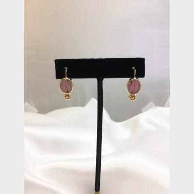 14K Yellow Gold Carved Amethyst Drop Earrings