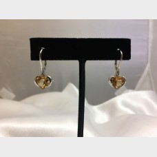 18K White Gold Heart Shaped Yellow Sapphire Dangle Earrings