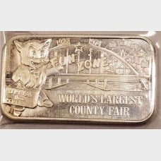 1974 L.A. County Fair 1 oz .999 Fine Silver Bar