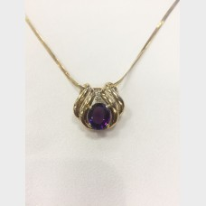 14K Yellow Gold Amethyst Diamond Slider Pendant