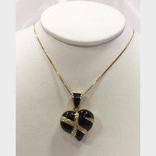 18K Gold Black Diamond Heart Locket Pendant