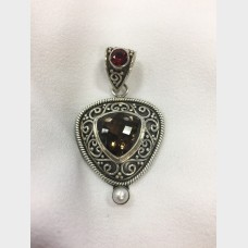 Sterling Silver Smokey Quartz w/  Garnet and Pearl Pendant