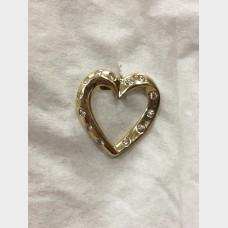 14 K Yellow Gold Heart Shaped Pendant w Diamond Accents