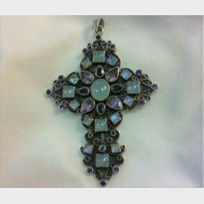 Nicky Butler Large Sterling Silver Amethyst  Iolite Moonstone Cross