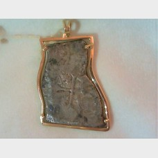 Spanish Colonial 8 Reales Sea Salvage Coin Pendant  in a 10K Gold Bezel