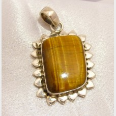 Square Tiger's Eye Sterling Silver Pendant