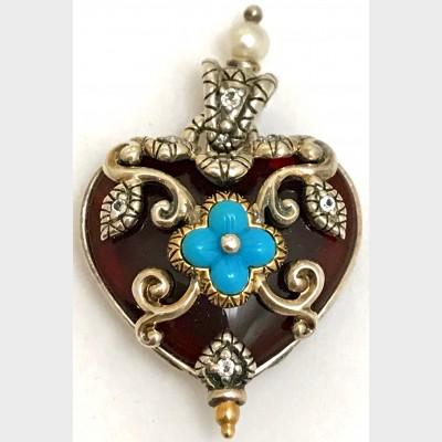 Barbara Bixby Sterling Silver 18K Reversible Carnelian Heart Enhancer Pendant