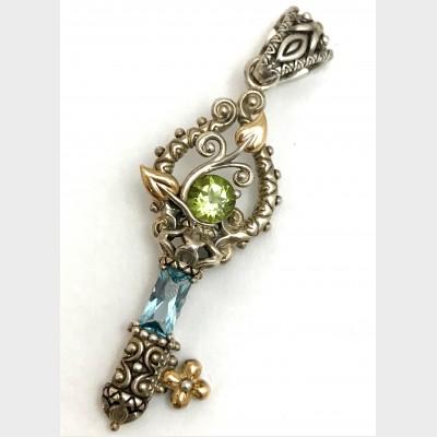 Barbara Bixby Sterling Silver 18K Peridot Topaz Vine Leaf Key Enhancer Pendant