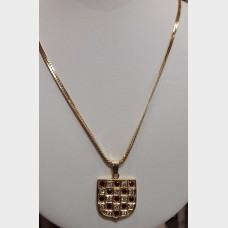 14K Diamond & Ruby Shield Pendant w/14K Gold Chain