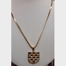 14K Diamond & Ruby Shield Pendant w/14K Gold Chain