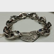 Custom White Gold, White & Black Diamond Heart Bracelet