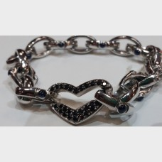 Custom White Gold, White & Black Diamond Heart Bracelet